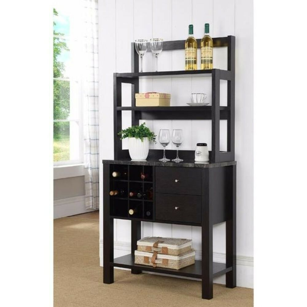 Unique Efficient Baker S Rack 2 Drawers 3 Shelves And Wine Rack