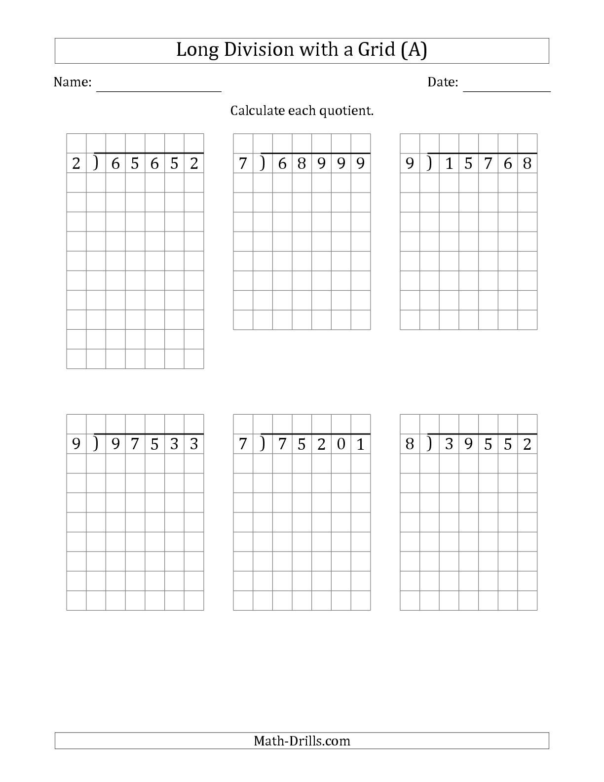 New versions with NO remainders including this one: The 5-Digit by 1-Digit  Long Division with Grid Assistance and NO Remainders …   Math drills [ 1584 x 1224 Pixel ]