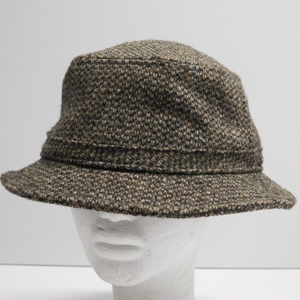 9251d0e33 Vintage LL Bean Harris Tweed Wool Goretex Bucket Hat Crushable sz ...