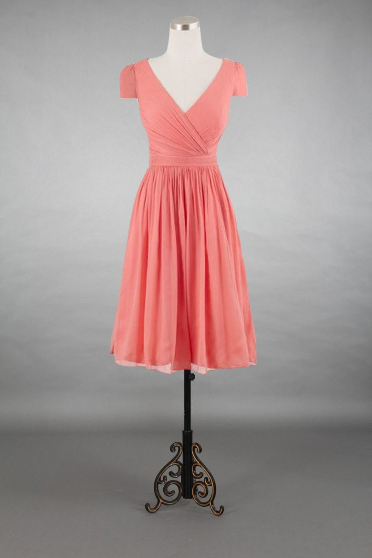 Cap sleeve v neck coral chiffon short bridesmaid dress v neck