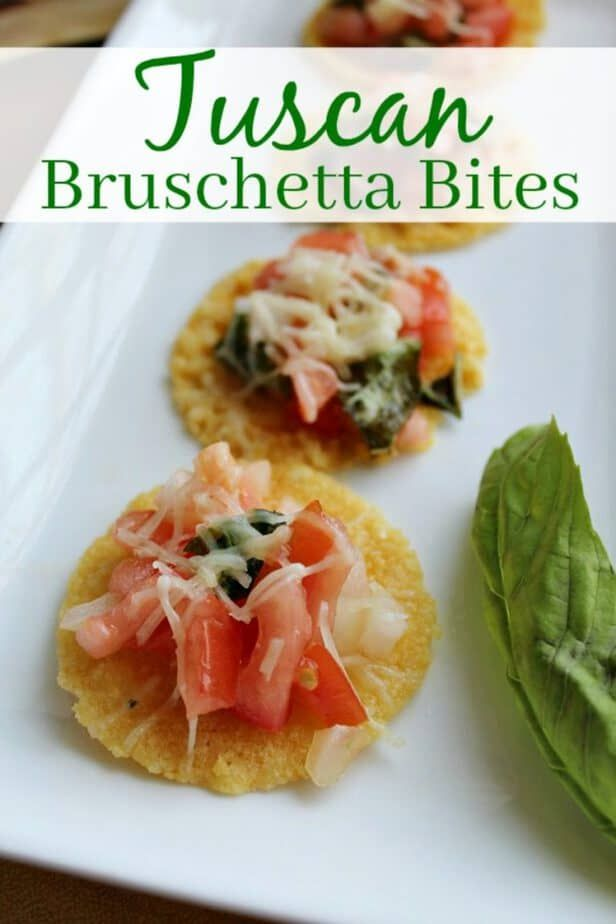 Easy New Year's Appetizer: Tuscan Bruschetta Bites Easy New Years Appetizer Recipe Tuscan Bruschetta Bites from This Mama Loves