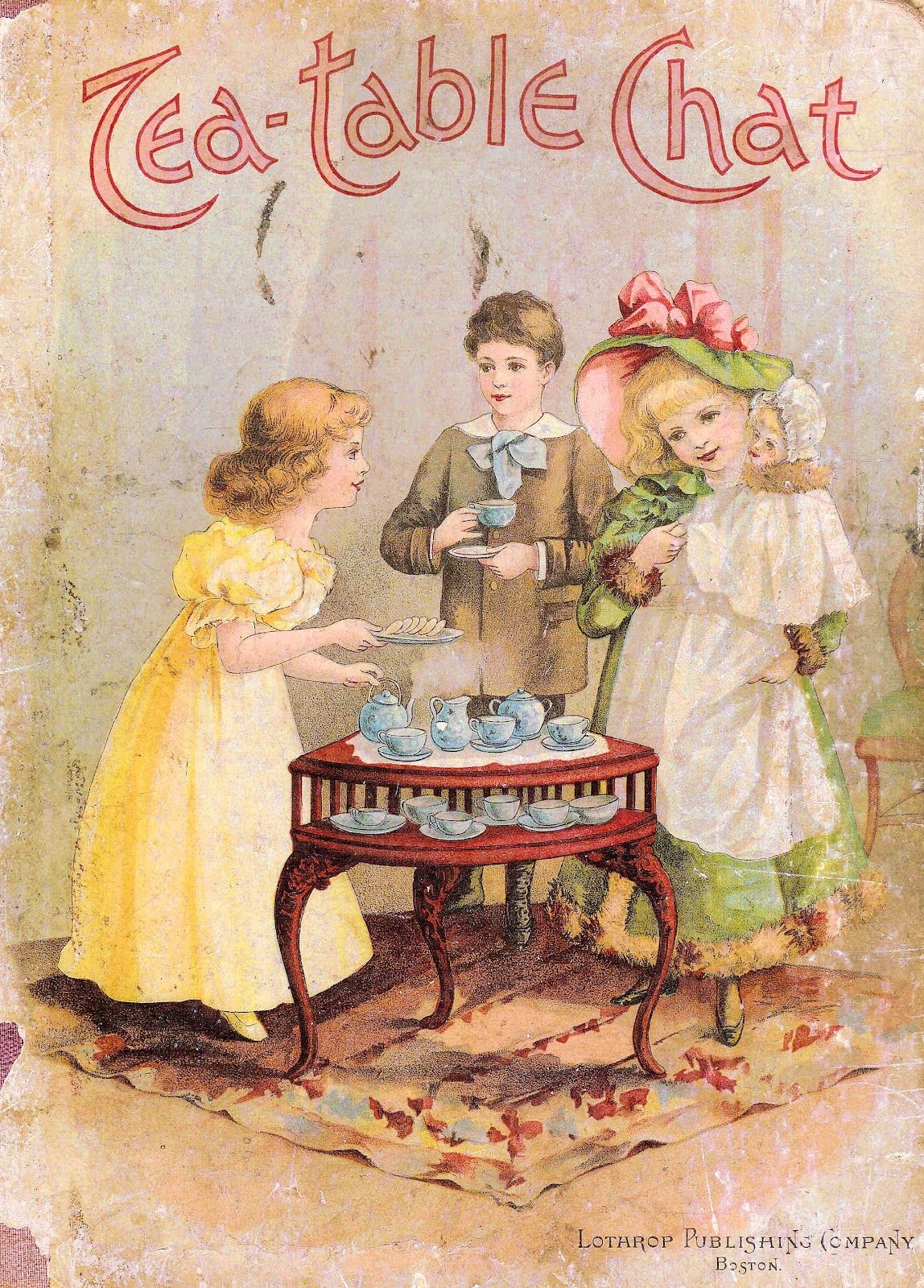 cd28dca10793 Victorian Storybook Cover with Children at Tea Party   Vintage ...