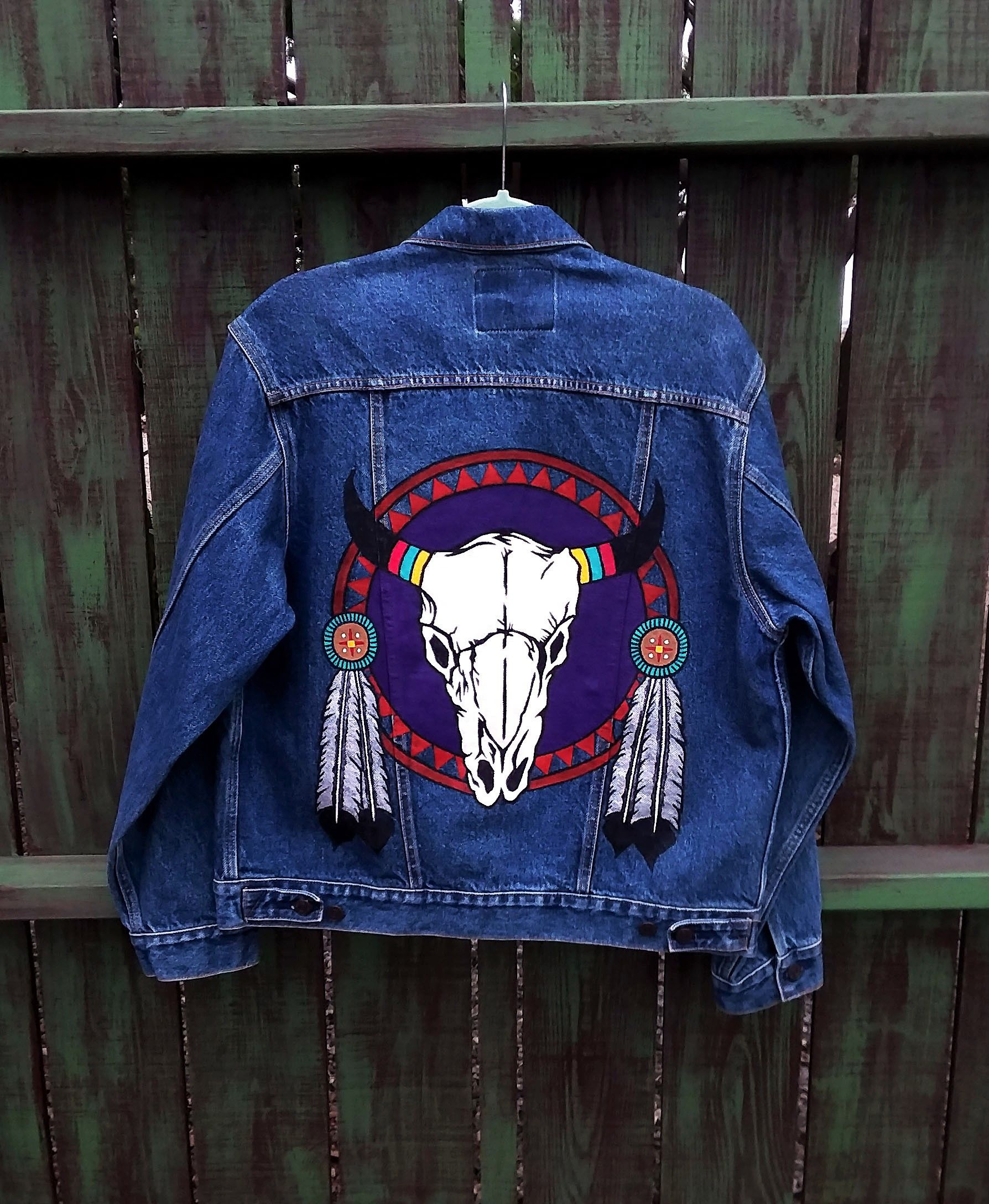 Hand Painted Southwest Cow Skull On Up Cycled Denim Levi S Jean Jacket By Bleudoor On Instagram Jackets Painted Jeans Diy Denim Jacket [ 2176 x 1788 Pixel ]