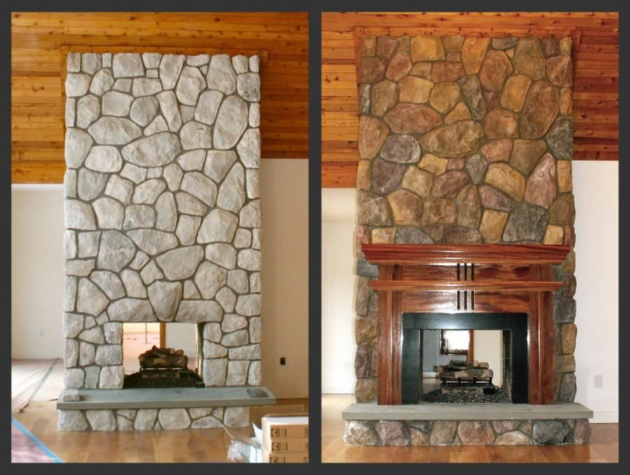 Image result for fieldstone fireplace Painted stone