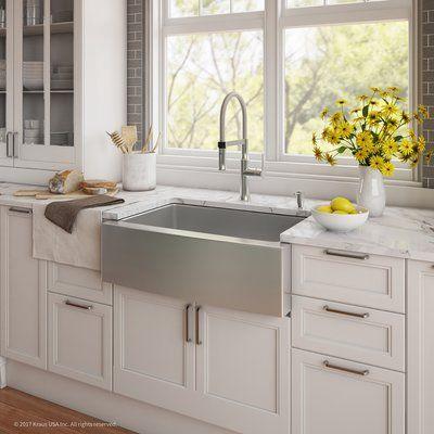 """Kraus Handmade Series 29.75"""" x 20.75"""" Farmhouse Kitchen Sink with ..."""