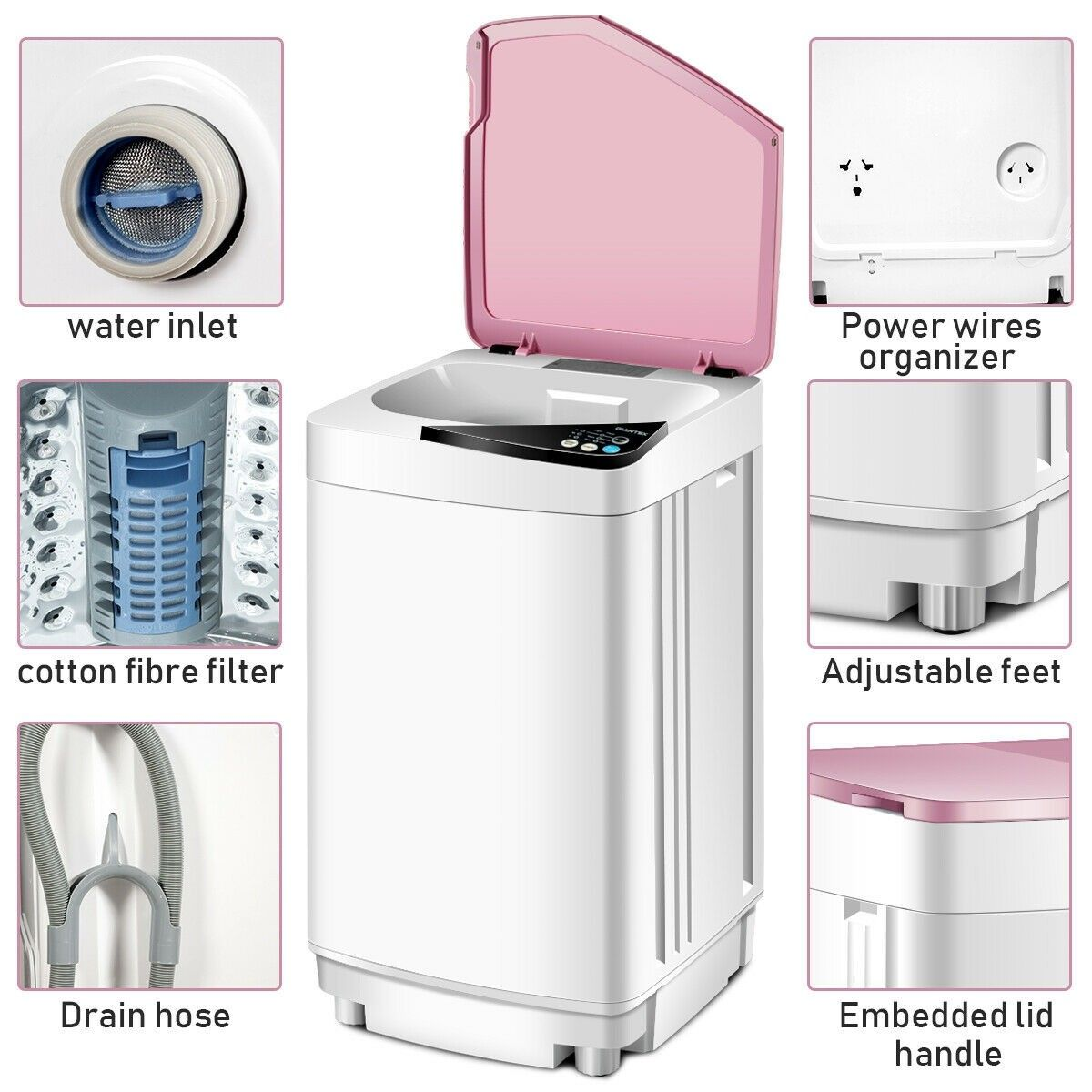Full Automatic Washing Machine 10 Lbs Washer Spinner Germicidal Automatic Washing Machine Portable Washer And Dryer Washing Machine