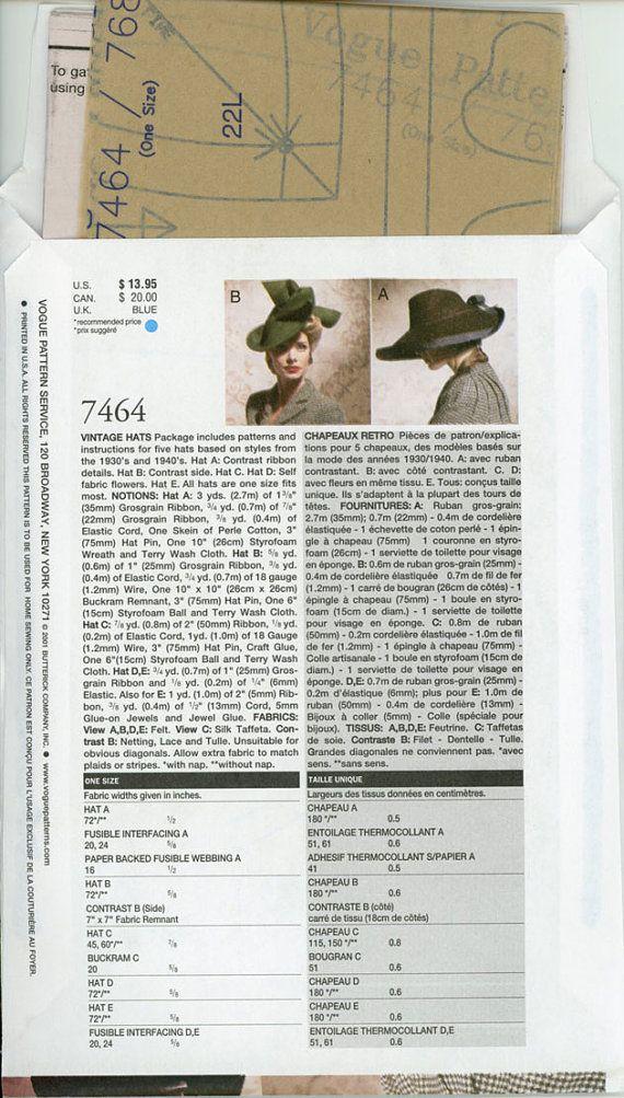 1930 1940 Sombrero del patrón de la vendimia sin cortar Vogue 7464 ...