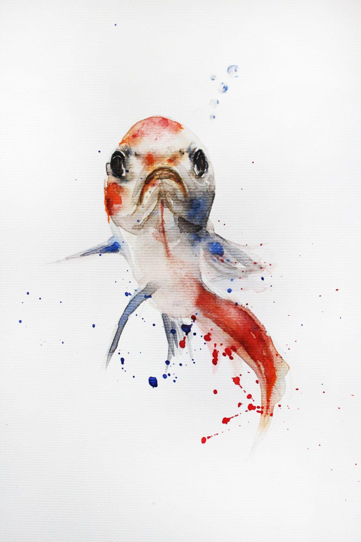 original watercolor painting little koi fish gold fish goldfish