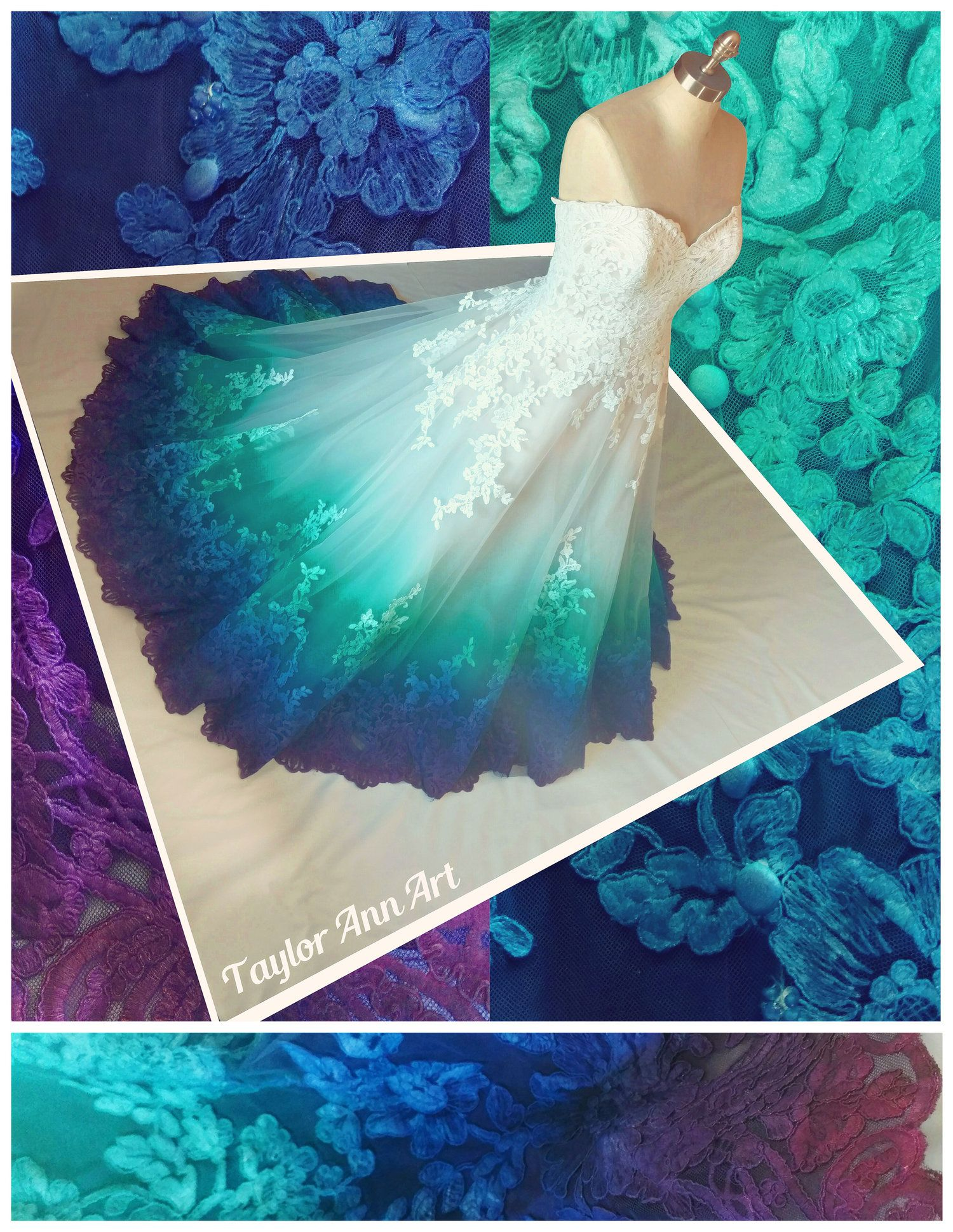 Painted bridal gowns in beautiful blue hues wedding beach purple