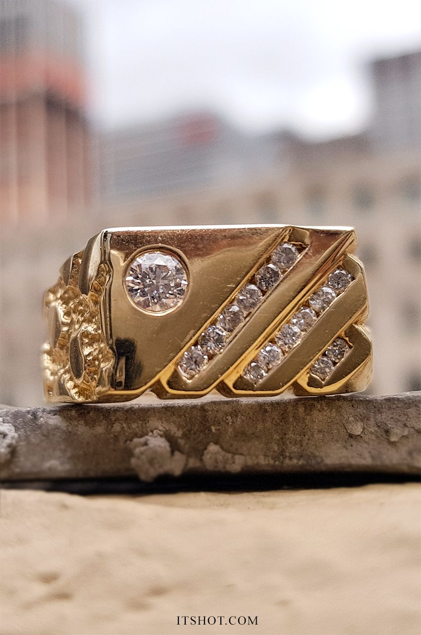 This 14k Gold Nugget Mens Diamond Ring Features 0 63 Carats Of Round Diamonds The Center Diamond Mens Diamond Pinky Rings Men Diamond Ring Gold Rings Fashion