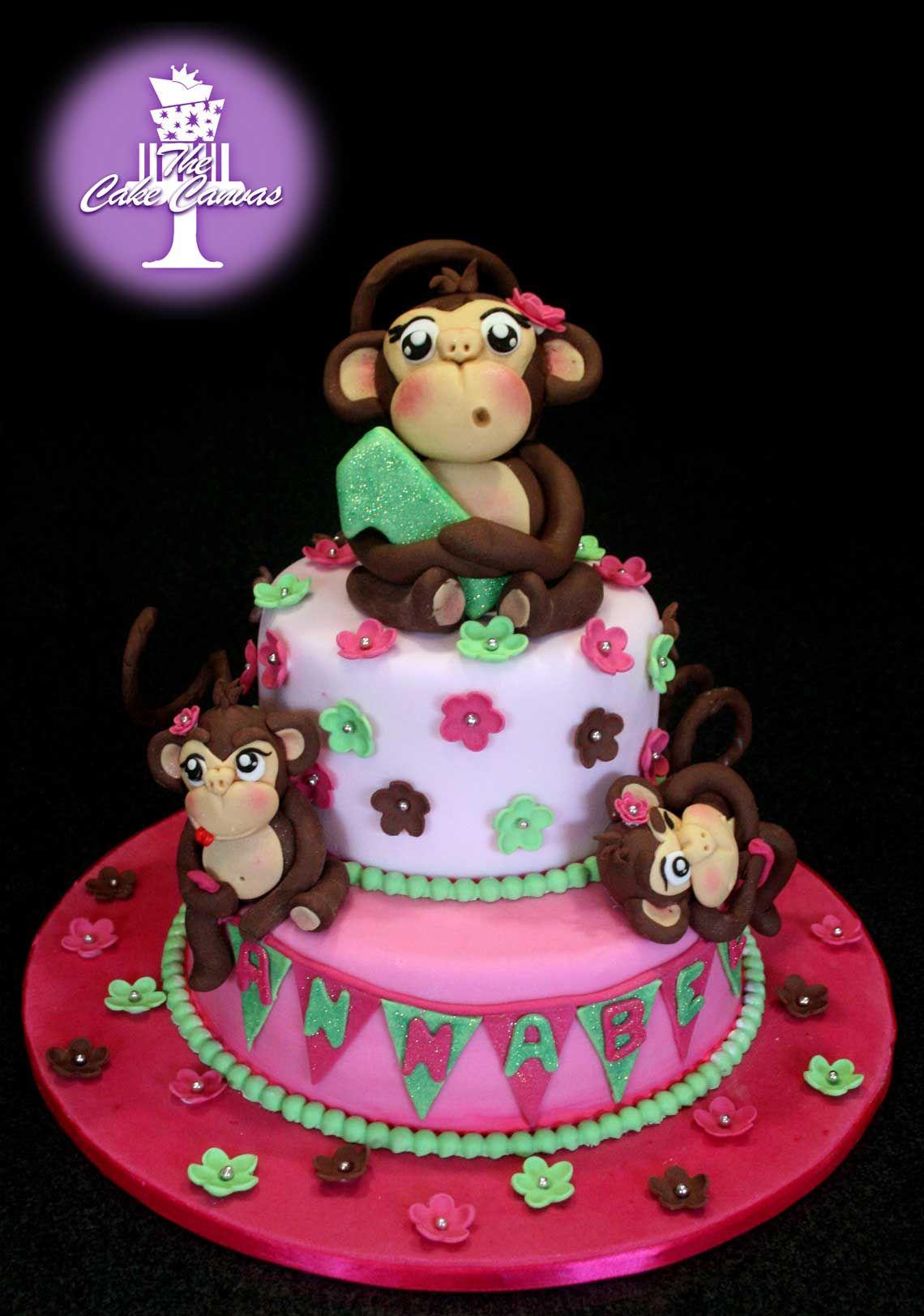 Monkey 1st Birthday Cake Girl The Cake Canvas Wedding Cakes