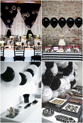 Simple Ideas Blanco Y Negro Partido 15 Decoration Anniversaire