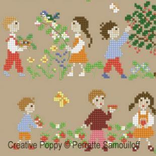 Happy Childhood – Grille point de croix printemps (grand) par Perrette Samouiloff   – Çocuk
