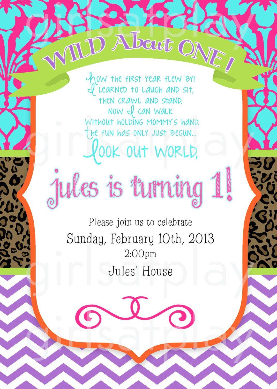 1st Birthday Girl First Invitation Leopard Wild by girlsatplay ...