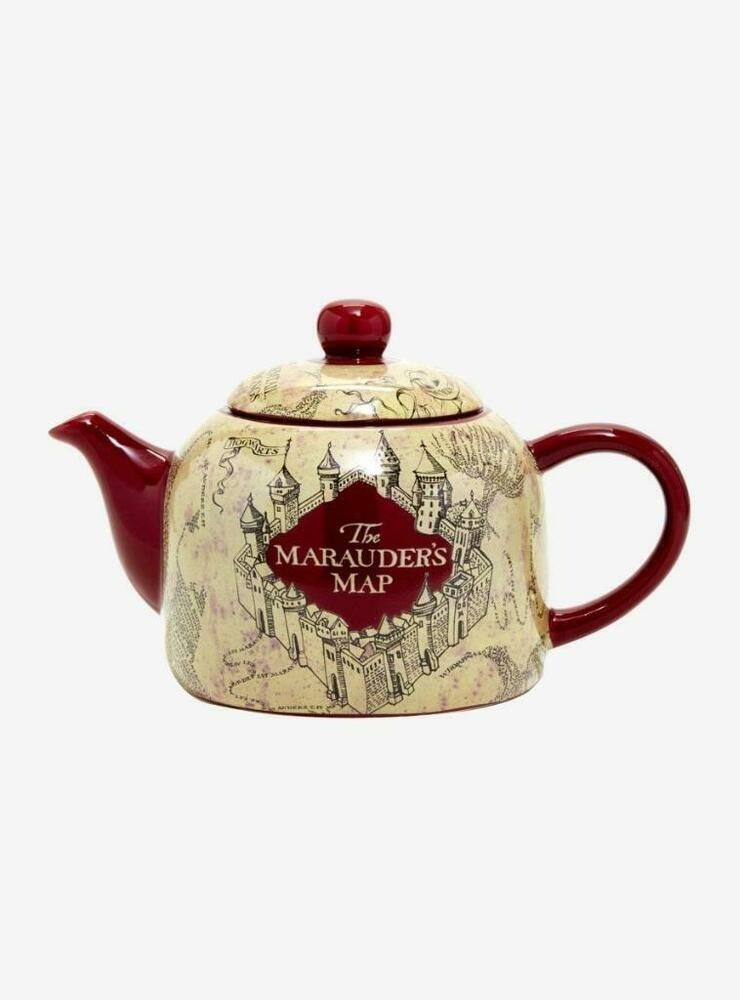 Barrel teapot Saddler cube teapot Vintage teapot Gold gilding Gilded teapot White background The abbey falls Waterfall Vivid color
