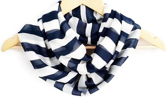 Chiffon Lightweight Soft Striped Dark Blue White by HeraScarf, $9.90