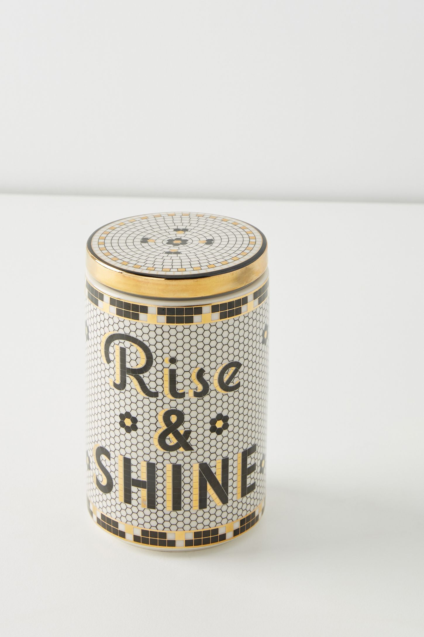 Bistro Tile Canister Canisters, Bistro, Pottery barn black