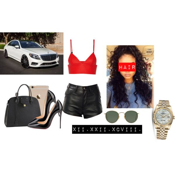 Untitled #753 by theblackgoldenbarbie on Polyvore featuring T By Alexander Wang, Christian Louboutin, Ray-Ban, Louis Vuitton and Rolex
