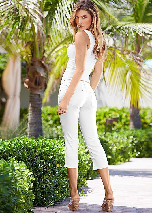 ccdfa6db6a White Seamless rib tank with capri jean from VENUS. Top available in sizes  S M   M L and bottom in sizes 2-14. More colors available!