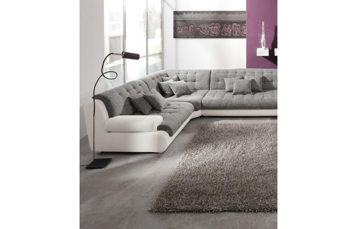 Materialmix Wohnlandschaft Leder Stoff Chillout Two Wohnen Sofa Design Günstige Sofas