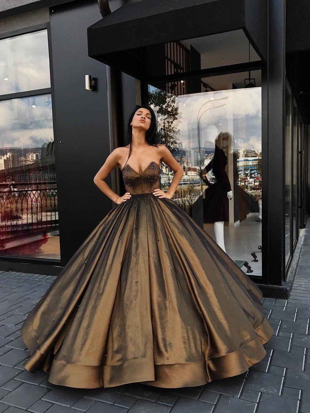 Ball Gown Prom Dresses Sweetheart Floor-length Brown Long Prom  Dress/Evening Dress JKL328