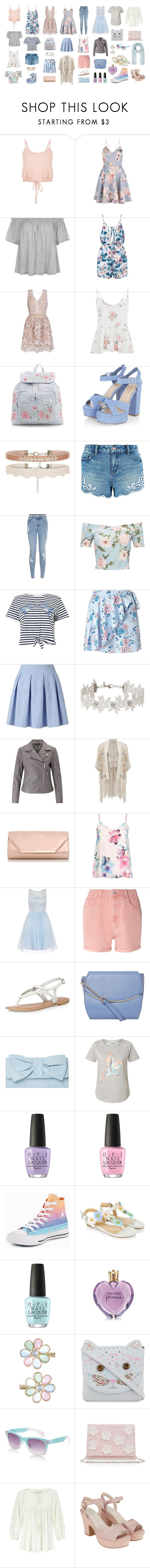 """""""Pastel and Flowers"""" by asphodelbastet ❤ liked on Polyvore featuring New Look, Miss Selfridge, Dorothy Perkins, OPI, Converse, Monsoon and Vera Wang"""