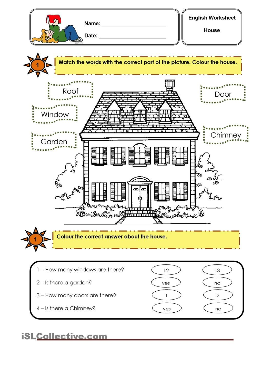 Parts Of The House Worksheets Teaching English Classroom