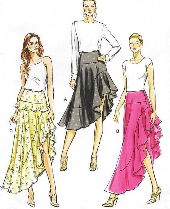 Womens High Low Ruffled Skirt in 2 Lengths OOP Vogue Sewing Pattern ...