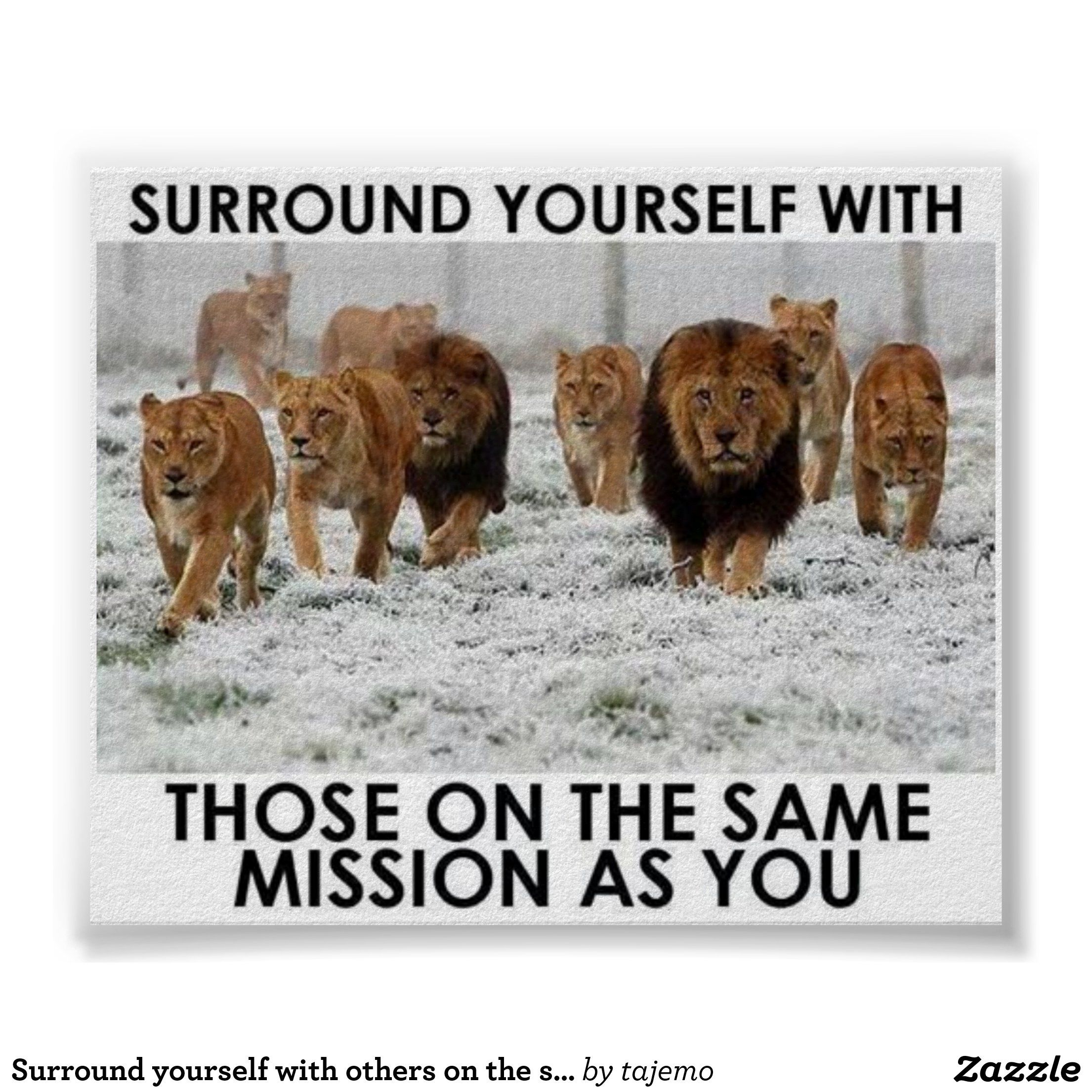 Surround Yourself With Others On The Same Mission Poster Zazzle Com Inspirational Quotes Lion Quotes Motivational Quotes