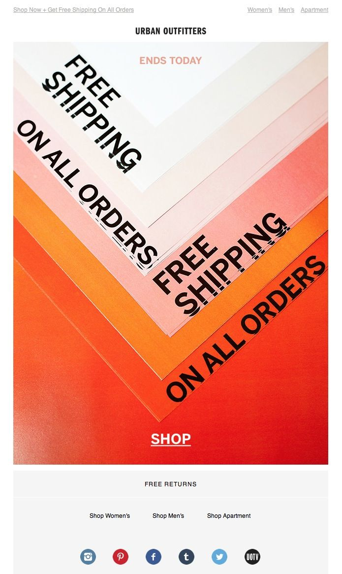 Urban Outfitter Free Delivery Edm Oh Visuals Design Layout
