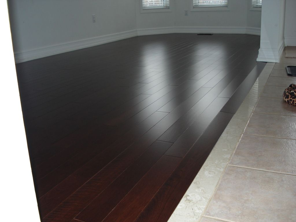Tile and 34 hardwood transition gap flooring contractor talk wood transition to tile dailygadgetfo Images