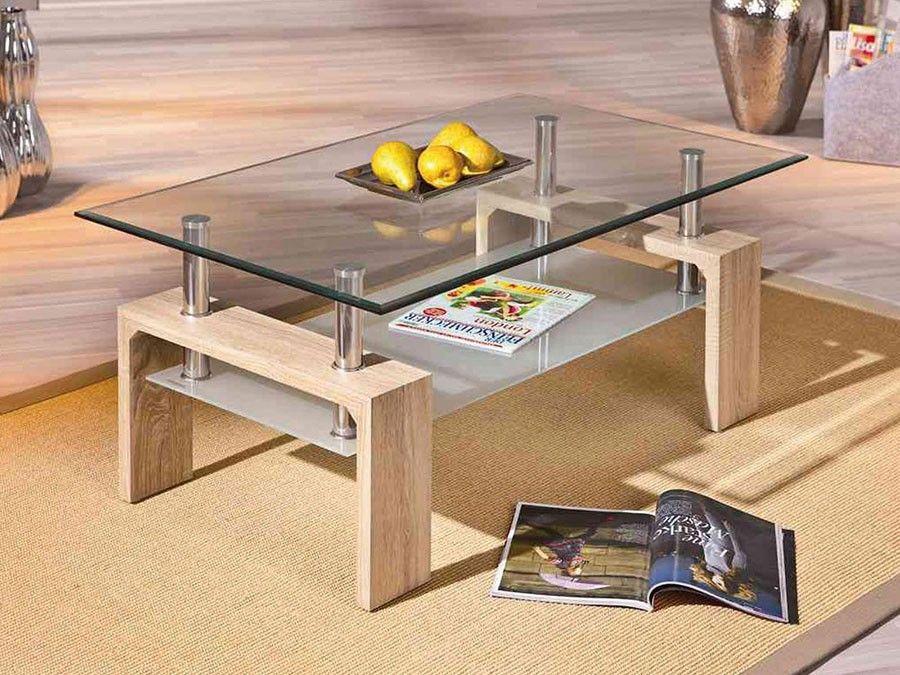 Table Basse 2 Plateaux Verre Et Bois Timeo 3 Table Basse Moderne Table Basse Verre Table Basse