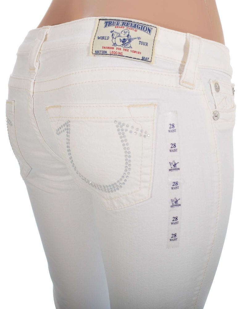 True Religion Womens Jeans Size 32 Leggin NO Flaps Optic White NWT $299 #TrueReligion #Leggings