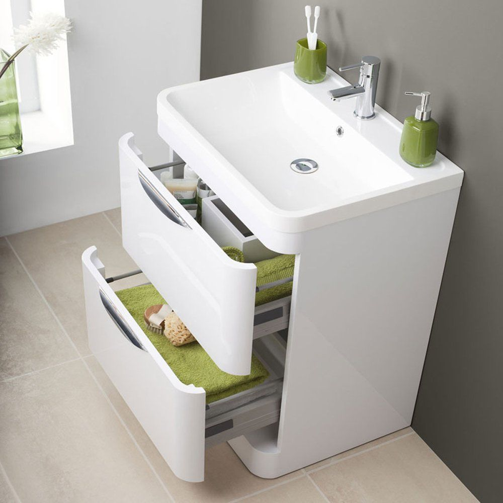 Parade 800mm Floor Standing 2 Drawer Bathroom Cabinet & 1TH Basin ...