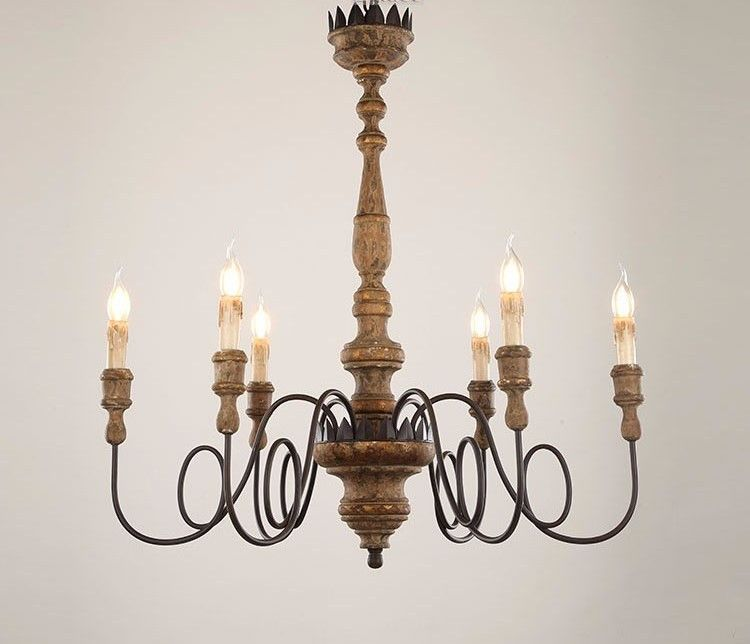 Wooden Country Chandelier