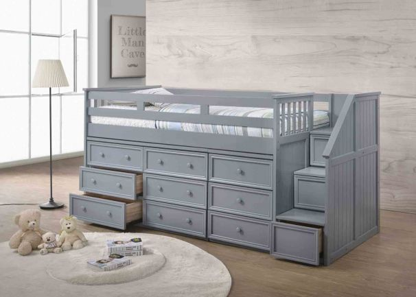 Moreno Grey Full Size Mid High Stairway Storage Loft Bed Junior Loft Beds Stairway Storage Small Space Interior Design