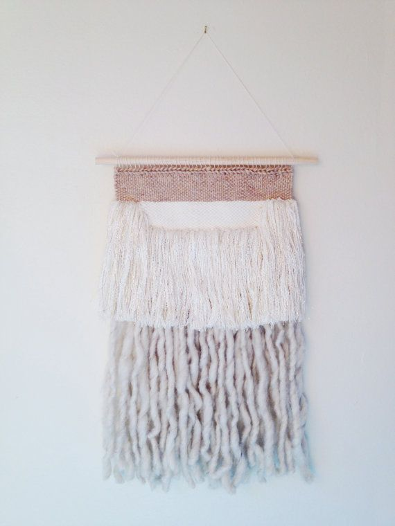 Neutral Woven tapestry white and gold fringe wall hanging