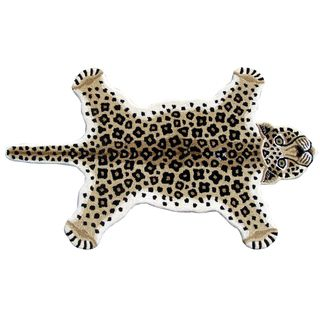 For Hand Tufted Leopard Skin Shape Wool Rug 3 X 5