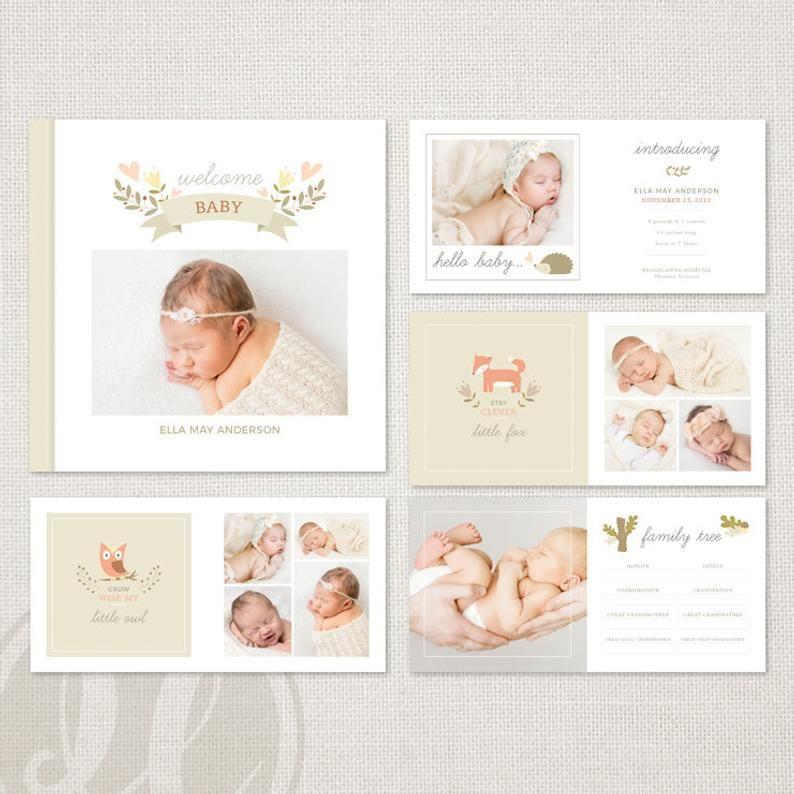 Woodland Baby Album Template For Photographers Instant Etsy Foto Bayi Bayi Hiasan