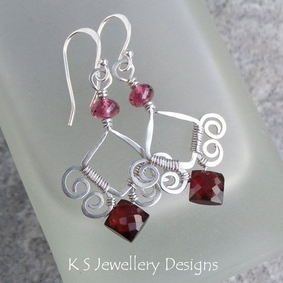 Garnet Sterling Silver Sterling Silver Earrings - SWIRL FRAMES - Handmade Wire Wrapped Wirework  Hammered Jewelry