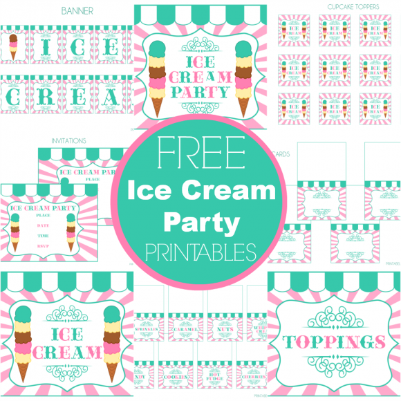 Punchy image within ice cream party invitations printable free