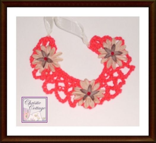 Red Bohemian #Necklace, Crocheted, #Boho Necklace @christiecottage