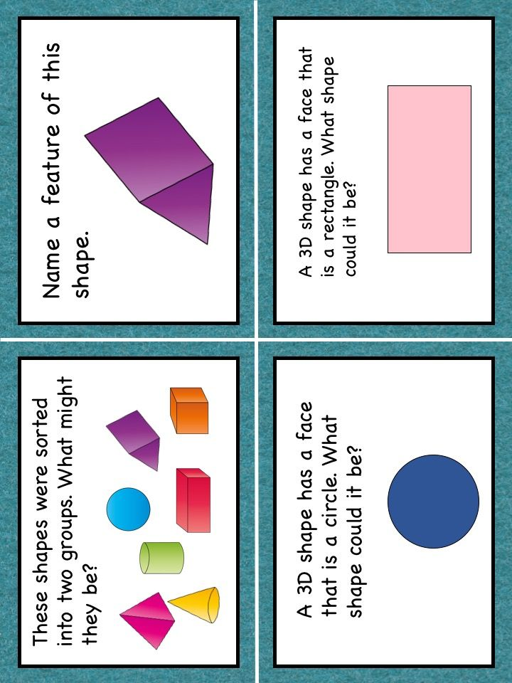 3D Shapes Task Cards HOTS Bloom's Taxonomy Grades 1, 2 and 3