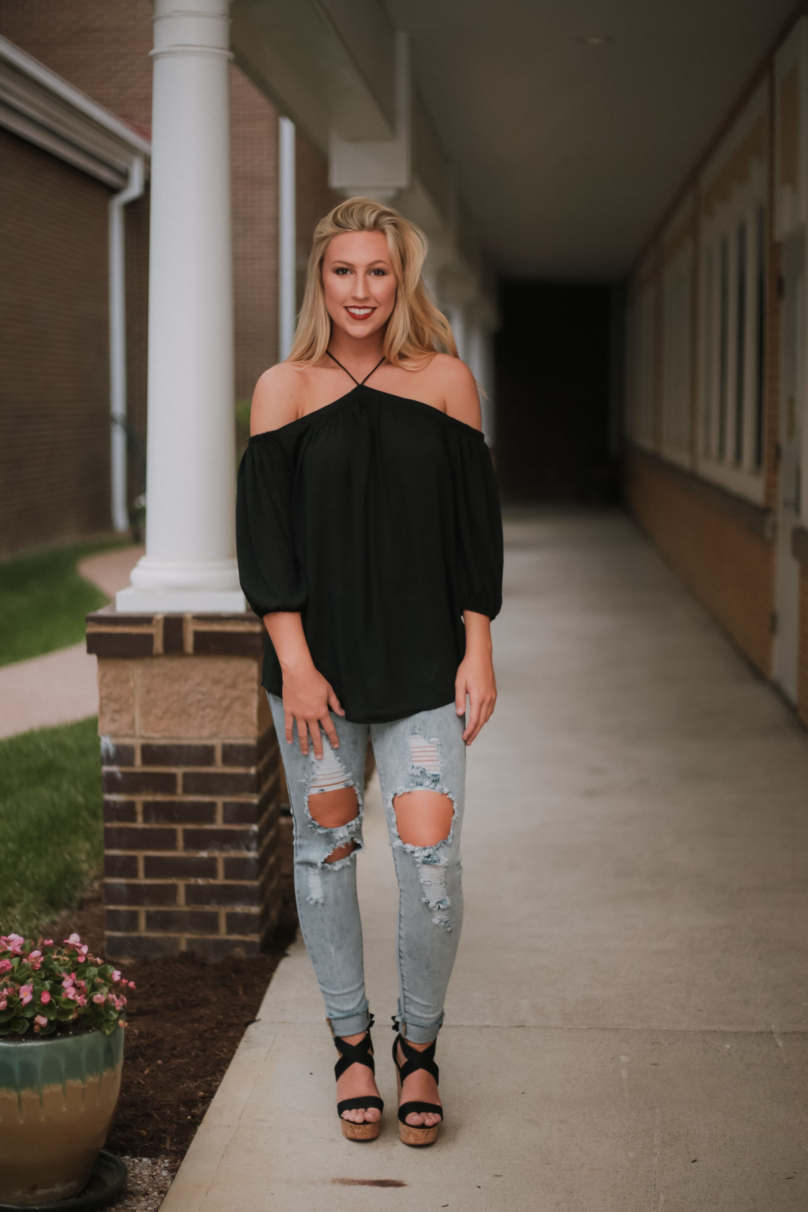 Mischa Off Shoulder Top ~ Black