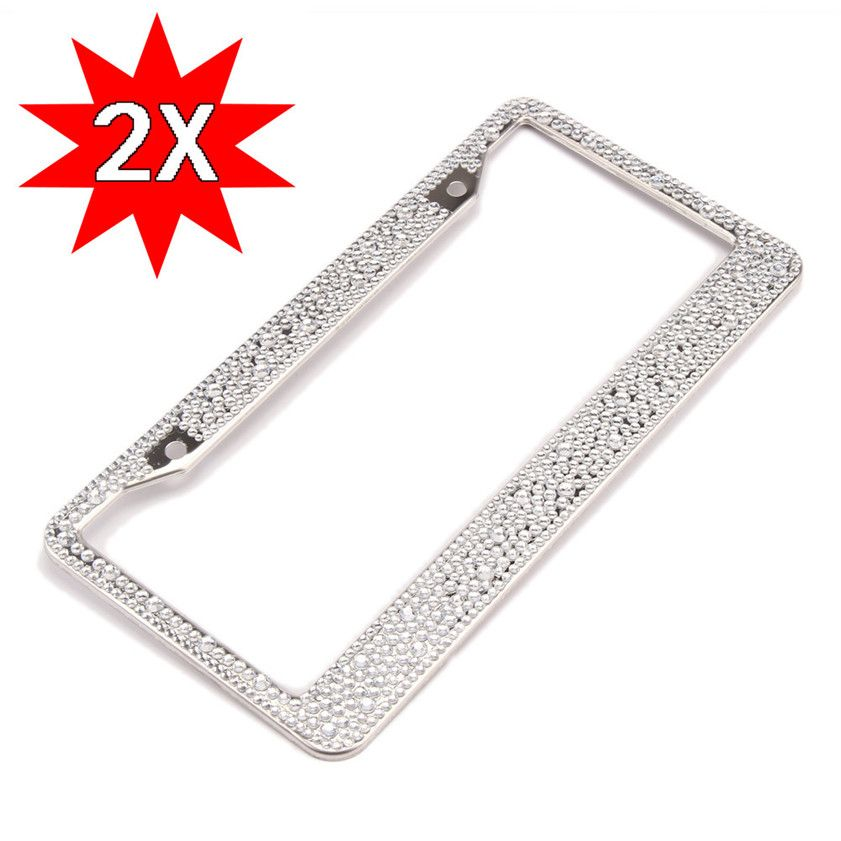 High Quality 2 Pcs Bling License Plate Frame Glitter Mixed Crystal ...