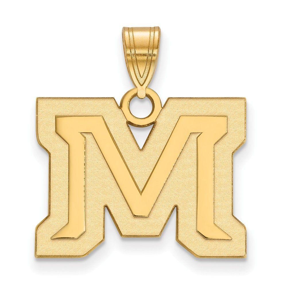 Sterling Silver w/GP LogoArt Montana State University Medium Pendant
