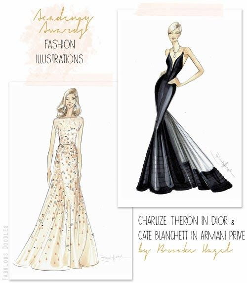fabulous doodles fashion illustration blog by brooke hagel red carpet fashion illustrations. Black Bedroom Furniture Sets. Home Design Ideas