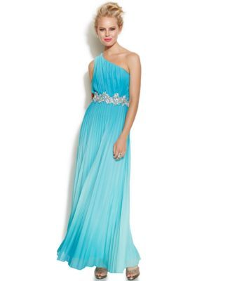 Speechless Juniors' One-Shoulder Pleated Gown    macys.com