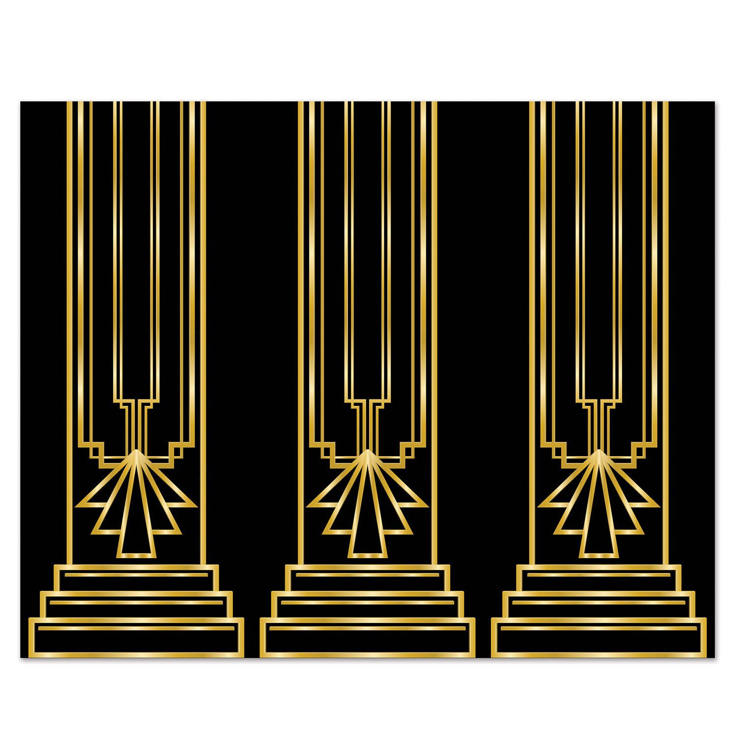 12 25 Art Deco Great Gatsby 20s Column Backdrop Party