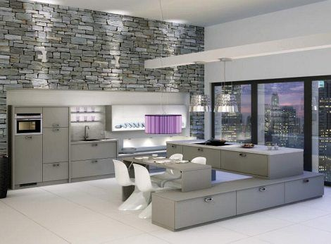 Elegant Gray Kitchen Interior With Stone Wall  Kitchen Ideas Enchanting Interior Design Kitchen Ideas Decorating Inspiration